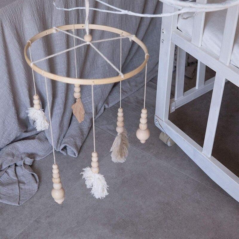 DIY Wooden Frame Kit,Baby Crib Mobile Wind Chime,Crib Bed Wood Mobile Hanger,Wooden Bead,Home Decor Nursery for Kids