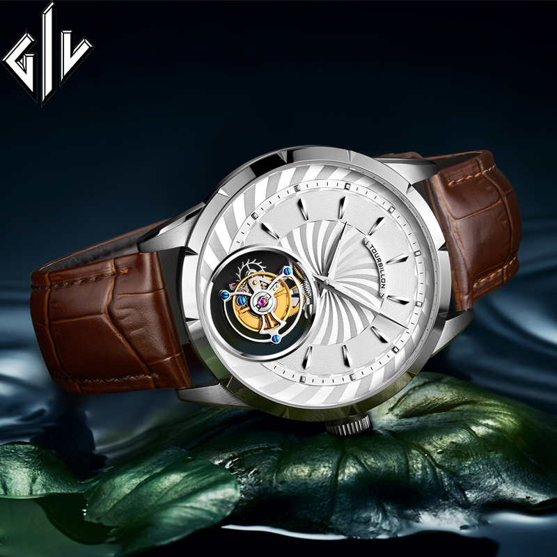 GIV Top Luxury Brand Real Tourbillon Watch Men Sapphire Skeleton Movement Business Mechanical Watch Relogio Masculino Male