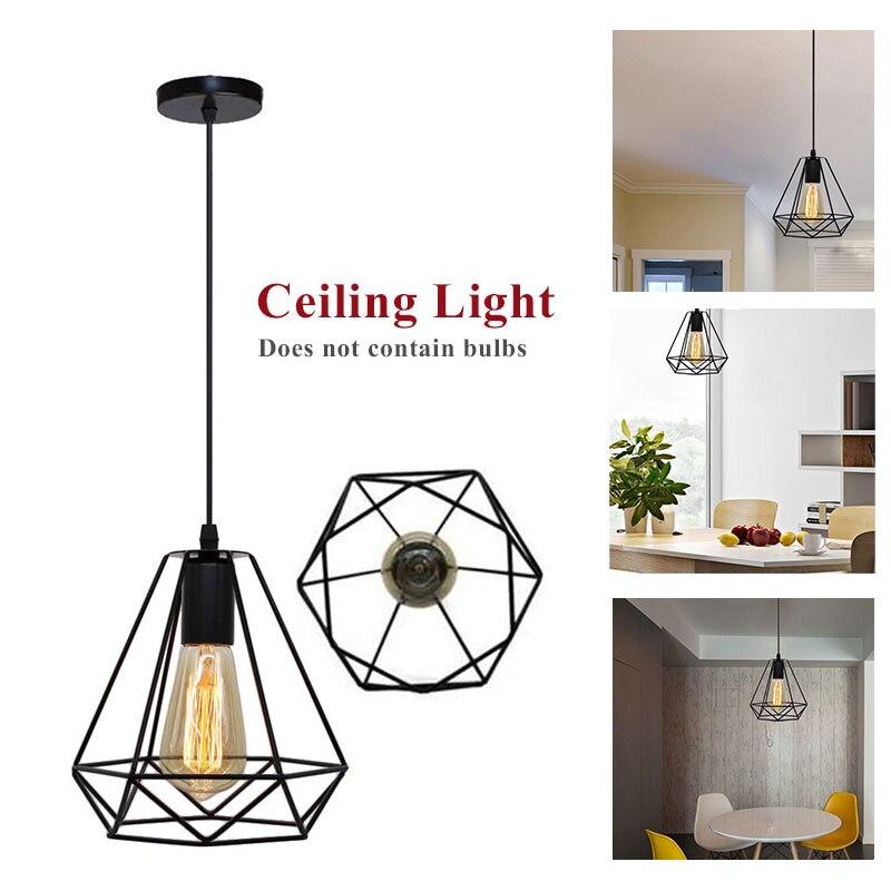 LED Down Light Iron Fixture Retro Ceiling Down Light Square Pendant Lamp E27 White Kitchen Home Decor Bedroom Flush Mount|Pendant Lights| |  - title=