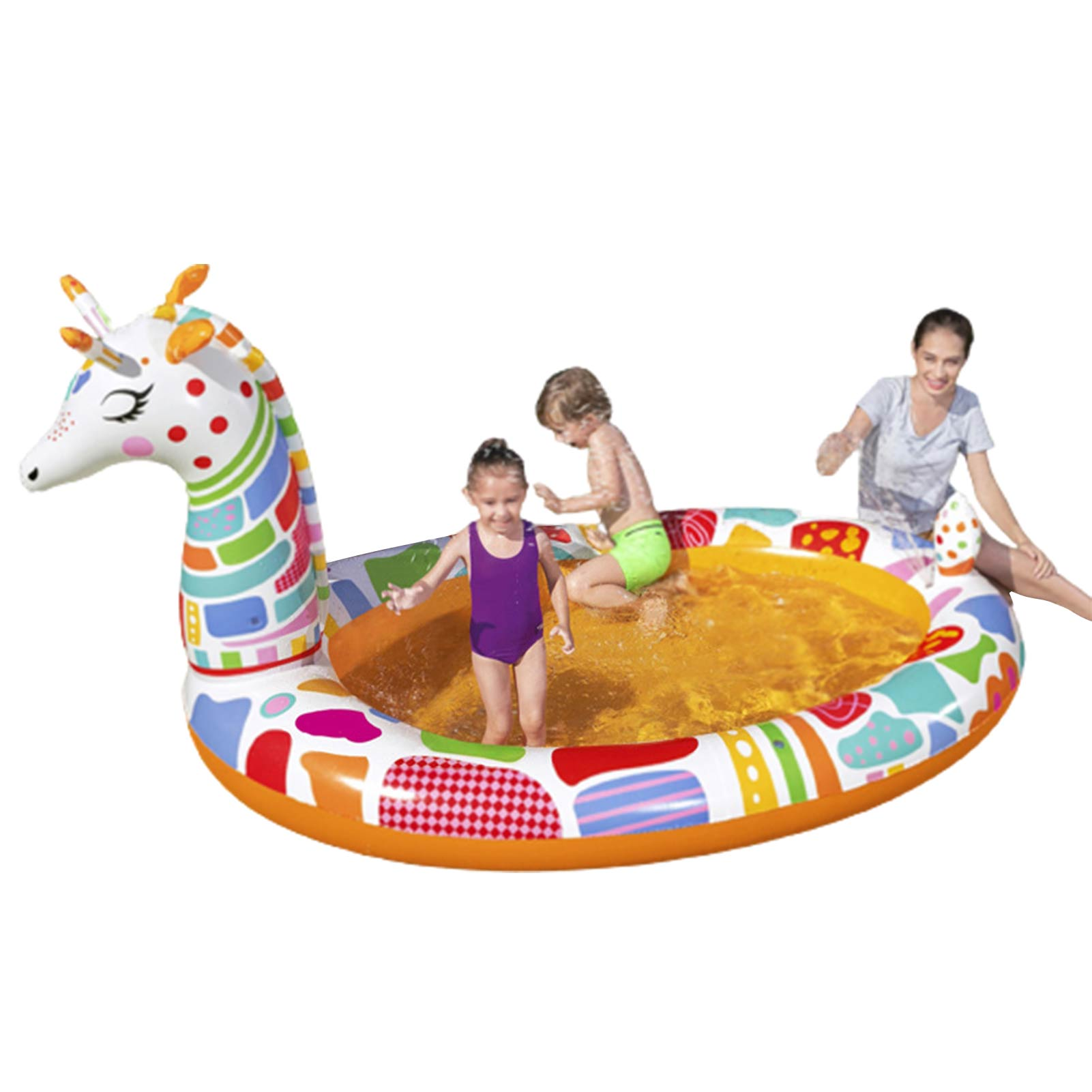 Summer Lovely Inflatable Giraffe Swim Pool Thickened Water Spray Play Center For Kids
