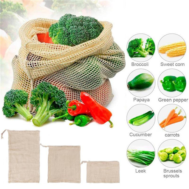 1PC Useful Vegetable Bags Eco Cotton Shopping Bag Reusable Storage Mesh Bags Washable Kitchen Home Vegetable Shopping Bags