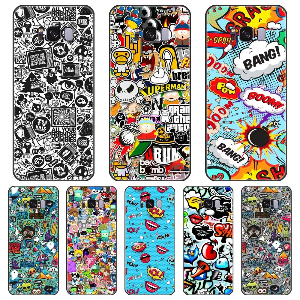 Soft <font><b>Phone</b></font> <font><b>Case</b></font> Silicone For <font><b>Samsung</b></font> Galaxy Note 4 5 8 9 <font><b>Anime</b></font> Graffiti Back Cover For <font><b>Samsung</b></font> Galaxy S5 S6 S7 Edge S8 <font><b>S9</b></font> <font><b>Plus</b></font> image