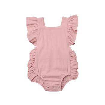 Infamt Clothing 2020 Baby Girl Solid Color Ruffle Cotton Baby Bodysuits Baby Girl Clothes New born Body Suit summer new baby born girl s 3pc sets skirt suit bodysuits purple skirts newborn clothing set smart princesses clothes