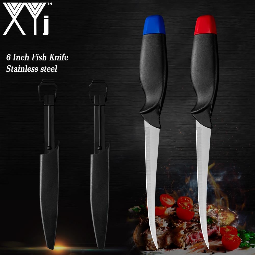 Набор ножей для рыбы XYj из нержавеющей стали, ножи синего и красного цветов в футляре для суши, сашими, кемпинга и отдыха на открытом воздухе, ...