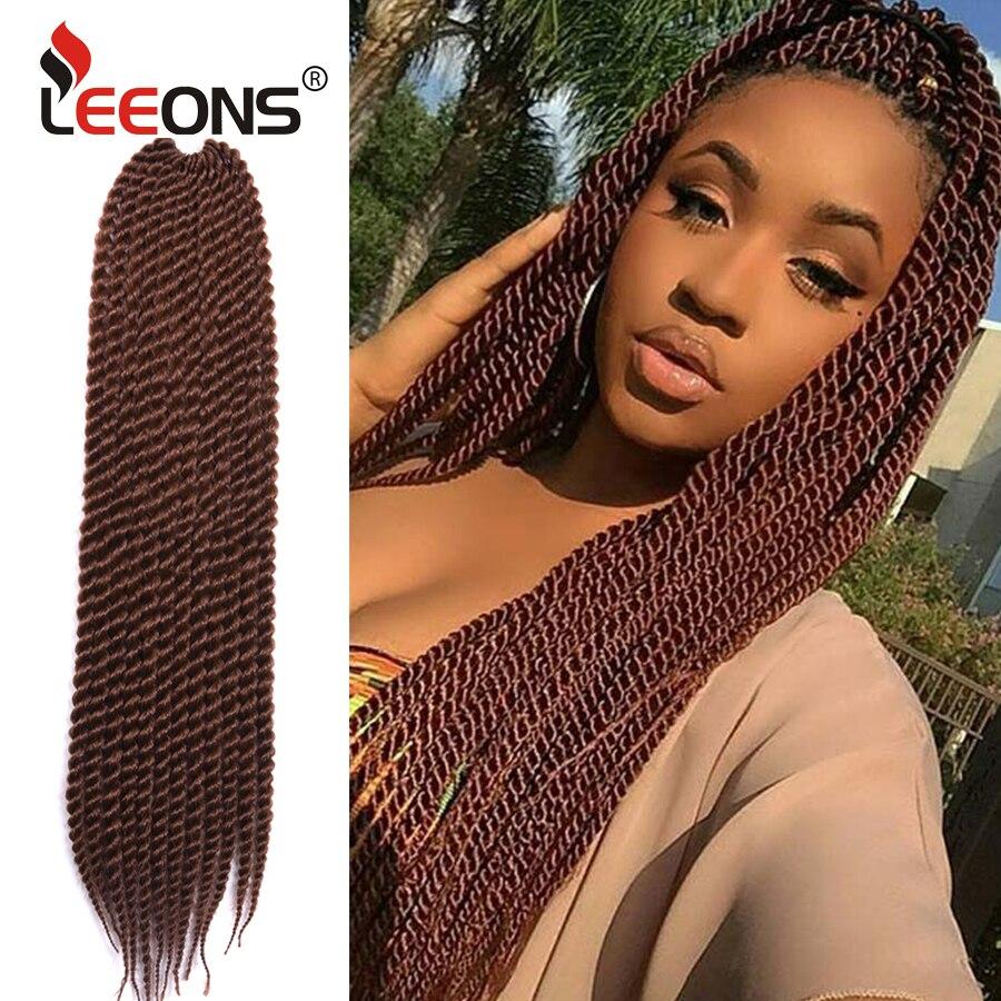 Leeons Crochet Senegalese Twist Braids Hair Synthetic Mambo Twist Crochet Braiding Hair 22 Inches Red Sliver Burgundy Braids