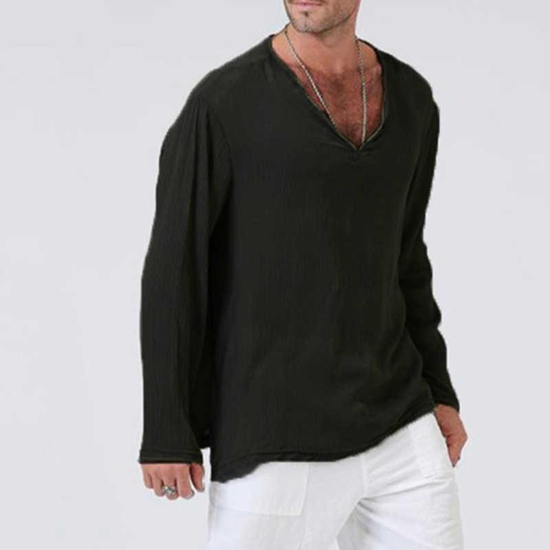 Erkek V boyun T gömlek tam kollu keten pamuklu uzun kollutişört T-Shirt erkekler gotik hippi giyim gevşek erkek t gömlek sonbahar bahar