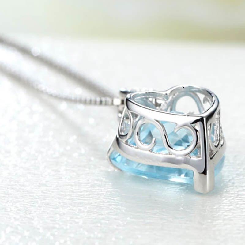 JoiasHome модное 925 пробы Серебряное ожерелье с подвесками с сапфировым кулоном в форме сердца для женщин Свадебные подарки ювелирные изделия