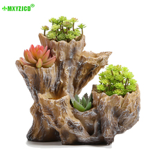 Simulation Wooden Stake Resin Flower Pot Retro Potted Desktop Lucky Decoration Home Storage Container Decoration Accessories
