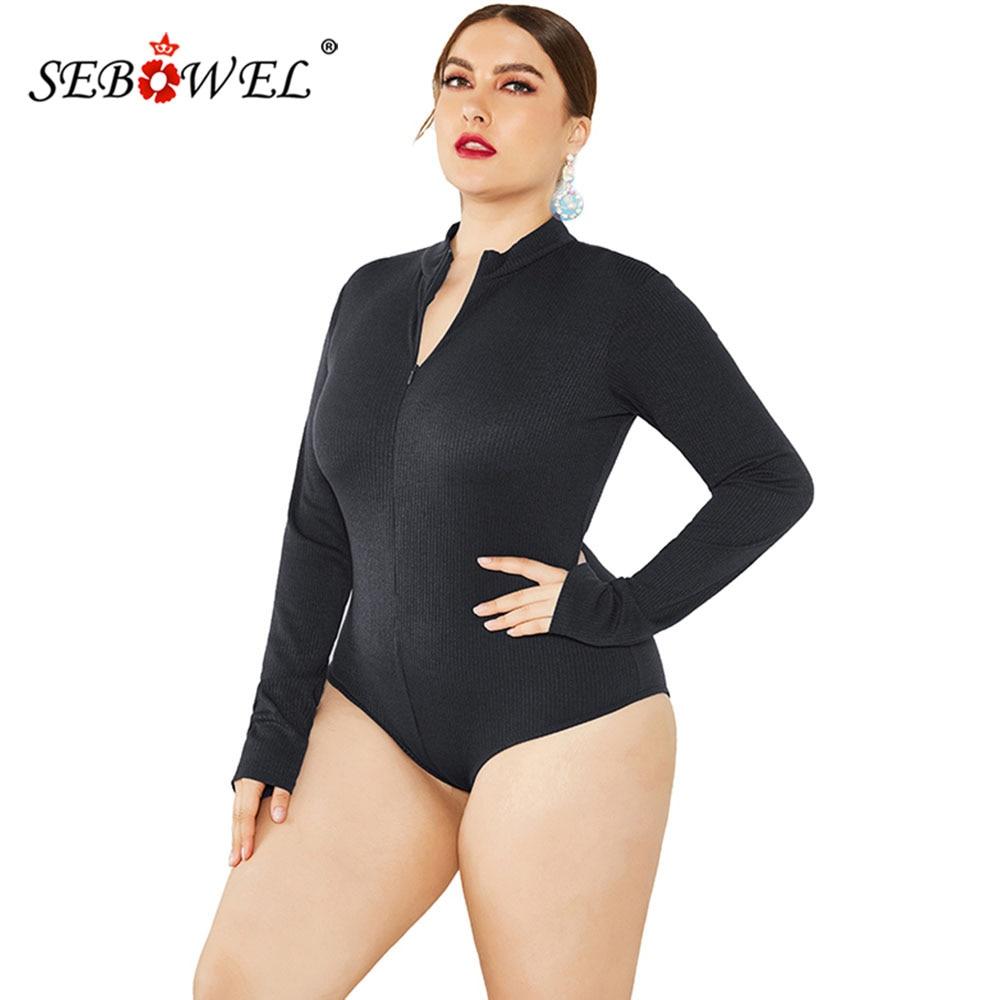 SEBOWEL Casual Large Size Long Sleeve Slim Knit Bodysuit Women Autumn Ladies Zip Body Tops Shirt Plus Size Stretch Romper XL-5XL