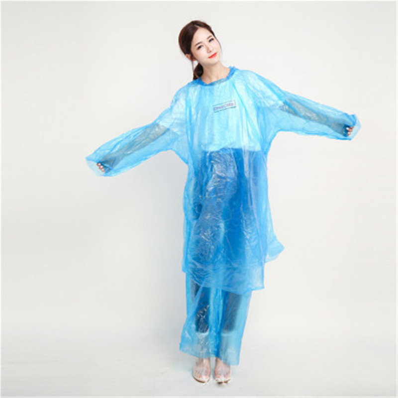 Adult Transparent And Thickened Disposable Raincoat With 10-piece Hiking Raincoat Set Separate Portable Outdoor Poncho For Men
