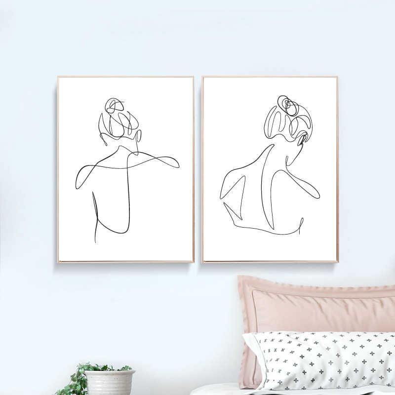 Wanita Gambar Garis Seni Lukisan Kamar Tidur Dekorasi Dinding Rumah Abstrak Telanjang Wanita Kembali Cetakan Skandinavia Satu Baris Sketsa Poster Painting Calligraphy Aliexpress