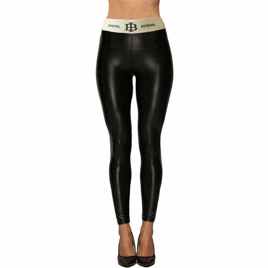 Plus Größe Leder Hosen Frauen Hohe Taille Mujer Bleistift Hosen PU Leder Stretch Hose Frauen Sexy Dünne Hosen