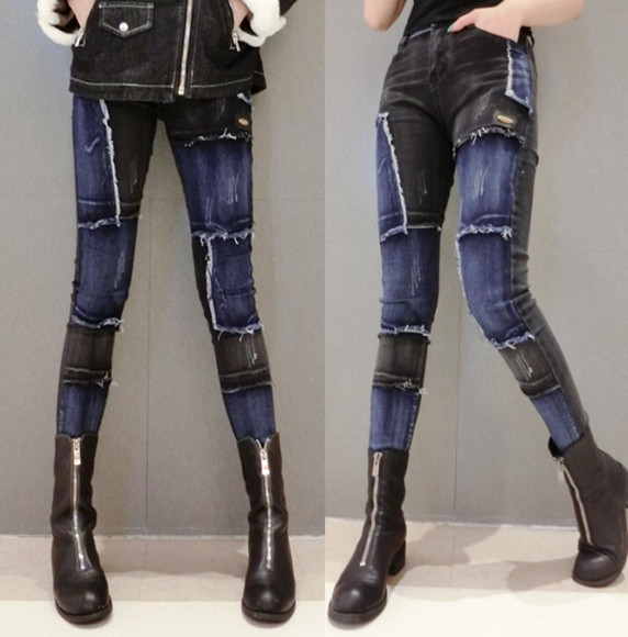 Color Patch Jeans Female Pants Ripped Jeans Pencil Pants Girls Ladies All-match Boots Pants Dzinsy Damskie Jean Mujer