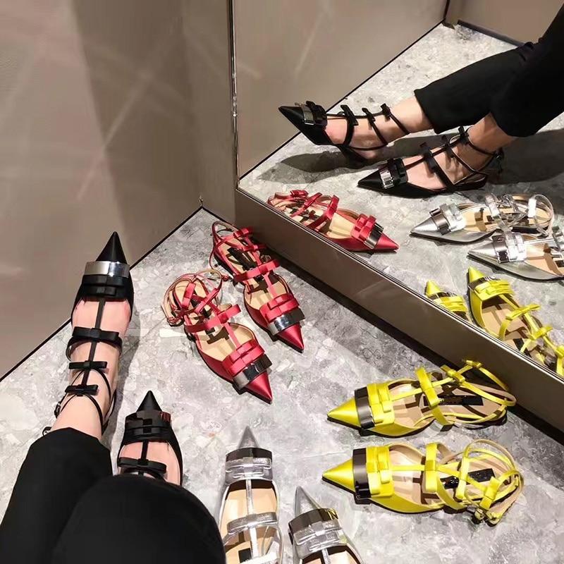 2019 Satijn Vrouwen Schoenen Puntschoen Vrouwen Flats Silver Metal Decor Vrouw Gladiator Kleur Jurk Bruiloft Zapatos Mujer Hot Muilezels - 6