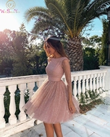 Pink Short Cocktail Dresses 2019 Womem Fashion Sequined Formal Party Prom Gowns Sexy Backless robes de longueurs genoux vestidos