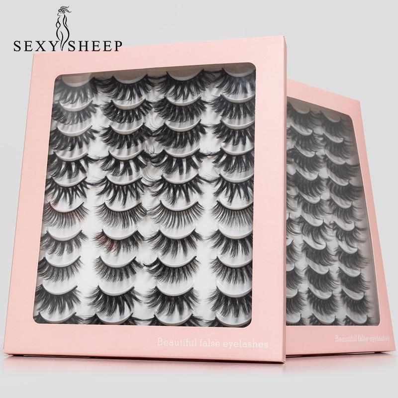 SEXYSHEEP 10/20 Pairs 3D Mink Lashes Natural False Eyelashes Dramatic Volume Fake Lashes Makeup Eyelash Extension Silk Eyelashes