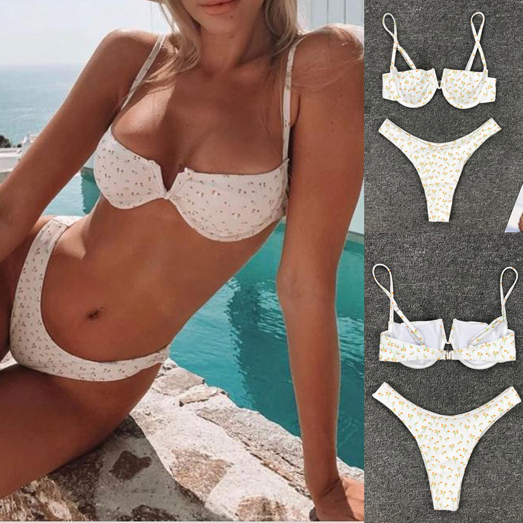 Women Beach Volleyball Bikinis Sets Summer Bath Tankini Low Waist Sexy Swimwear Female Push Up Padded Bikini Sling Swimsuits