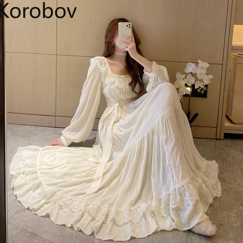 Korobov 2020 Fashion New Women Solid Dress Vintage Elegant Long Sleeve Square Collar Dresses Chic Lace Bow Vestidos