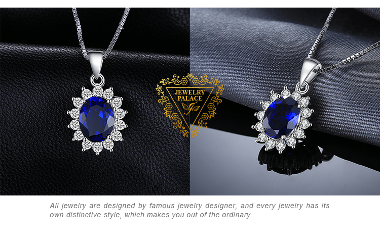 H6f7db0b4c337426b9eecde1927327639p JewelryPalace Created Sapphire Pendant Necklace 925 Sterling Silver Gemstones Choker Statement Necklace Women Without Chain