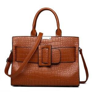 Image 1 - ブランドワニ革高級ハンドバッグの女性のデザイナーカジュアルトートファッション女性メッセンジャーショルダーバッグ嚢送料メイン