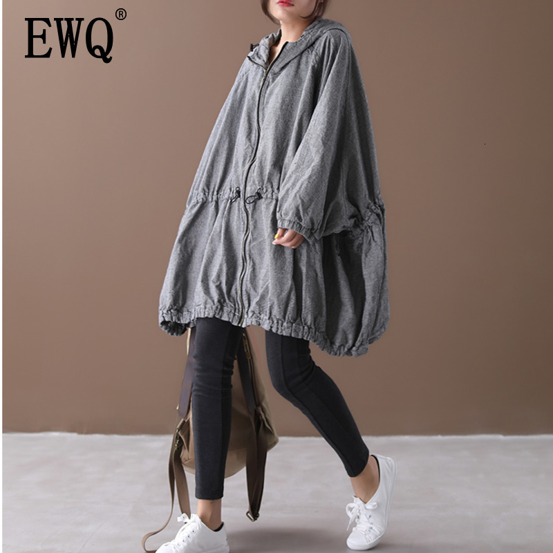 [EWQ] 2020 Autumn New Pattern Office Lady Style A-line Loose Full Sleeve Solid Color Zipper Hooded Collar Windbreak Coat AF890