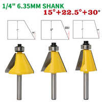 """3PCS/Set 1/4"""" 6.35MM Shank Milling Cutter Wood Carving 15 22.5 30 Degree Chamfer Bevel Edging Router Bit woodworking Router Bits"""