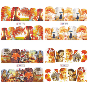 Image 4 - 12pc Water Decals Autumn Nail Stickers Gold Maple Leaves Nail Art Sliders Sets Manicure Polish Foils Decoration Tips LABN505 516