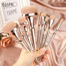 IMAGIC 9pcs Makeup Brushes Kit Soft Nylon Hair Partij Blending Brush Metallic Handle Maquillaje Profesional Oogschaduw Tools Set