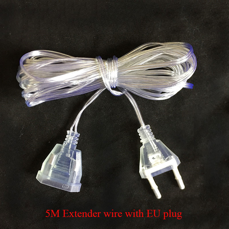 5M Extender Transparent Wire EU Plug For LED String Christmas Lights Garden Home Garland Party Decotation