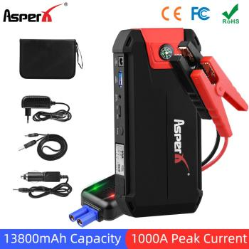 AsperX Car Jump Starter Booster Emergency Battery Charger Buster for Car Power Bank 13800mAh 12V Auto Starting Device baseus car jump starter power bank 12v auto starting device 800a car booster battery jumpstarter emergency buster jumper start