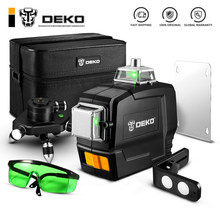 DEKO – Laser vert DKLL12PB1 SET1/2 12 lignes 3D, lignes transversales, verticales, horizontales, mode manuel et auto-nivelant