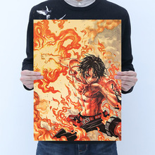 Wall-Sticker One-Piece Action Figure Poster Craft Print Wall Sticker Vintage Paper Anime One Piece Posters Luffy Boys Gifts tie ler fight club kraft paper poster movie vintage paper poster retro art wall decoration wall sticker 51 5 35 cm