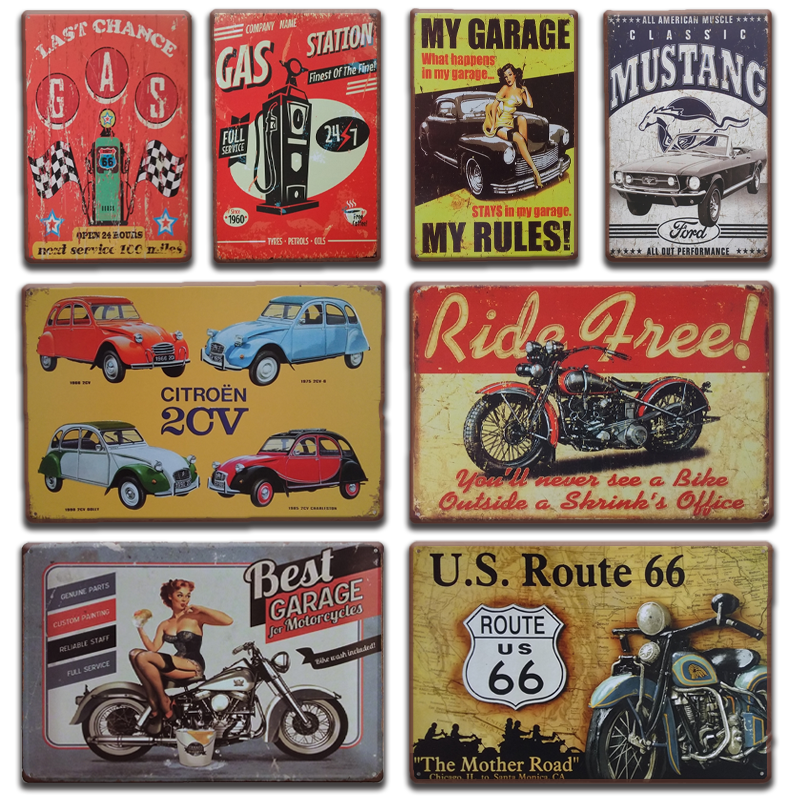 Vintage Metal Tin Sign Pub Bar Wall Art Poster Plaque Garage Decor Car #8