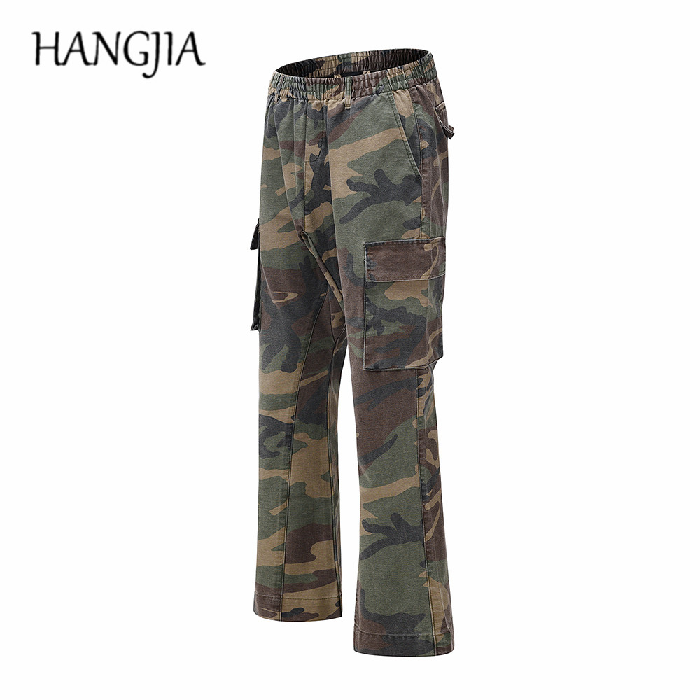 2020 Camouflage Flare Pants Fashionable Camo Cargo Pants for Men Slim Fit Camouflage Trousers Youth All-match Hot Style