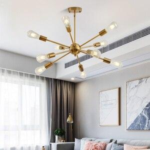 Image 2 - Sputnik żyrandole mosiężne nowoczesne lampy wiszące antyczne złoto przemysłowe oświetlenie schodów oprawy 10 ramion matowy nikiel czarna tubka