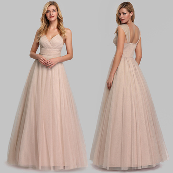 Evening Dress Long Elegant Side-Draped A-line V-neck with Straps Floor-length Sleeveless Evening Party Gowns Queen Abby 5
