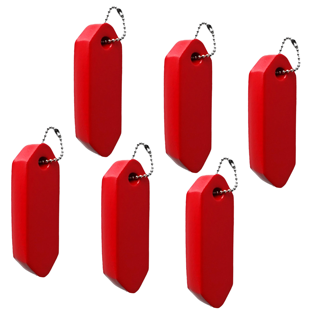 Red Vinyl Coated Floating Key Chain Foam Buoyant Key Float With Ball Chain 6pcs/Pack