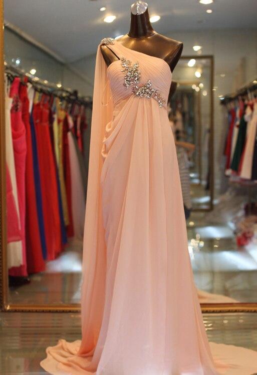 Vestido de noite simples um ombro sem mangas com miçangas/cristal vestidos de festa de noite vestidos de fiesta robe de soiree