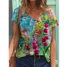 Floral Shirt for Women Plus Size T-shirt Ladies Flower Print Blouse Short Sleeve V-neck Casual Tops