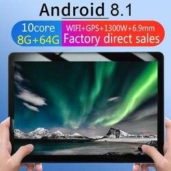 KT107 Ronde Gat Tablet 10.1 Inch HD Groot Scherm Android 8.10 Versie Mode Draagbare Tablet 8G + 64G zwart Tablet Black EU Plug