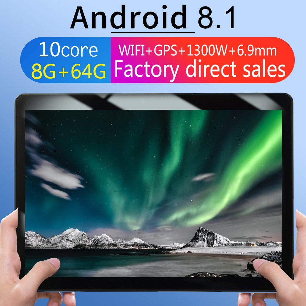 KT107 Round Hole Tablet 10.1 Inch HD Large Screen Android 8.10 Version Fashion Portable Tablet 8G+64G Black Tablet Black EU Plug