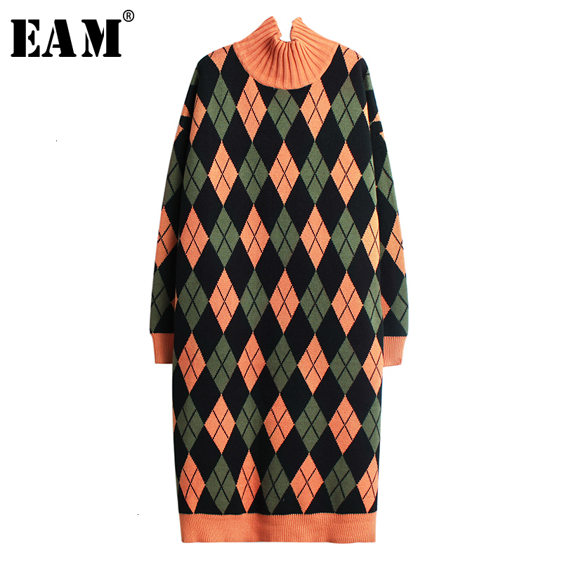 [EAM] Women Contrast Color Paid Big Size Knitted Dress New High Collar Long Sleeve Loose Fit Fashion Spring Autumn 2019 1K390