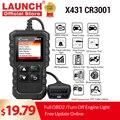 LAUNCH X431 CR3001 obd2 Профессиональный Автомобильный сканер OBDII считыватель кодов Автомобильные диагностические инструменты отключение двигателя...