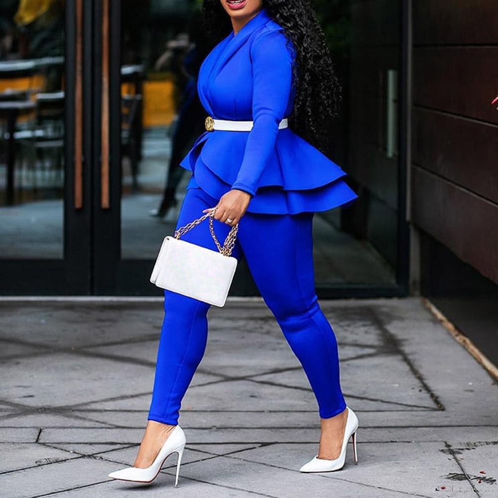 H6f7ecacd094544e0a2fd772231487d128 - Plus Size Office Ladies Blue Pink 2 two piece set top and pants Elegant Female Casual Business matching suit sets Women clothing
