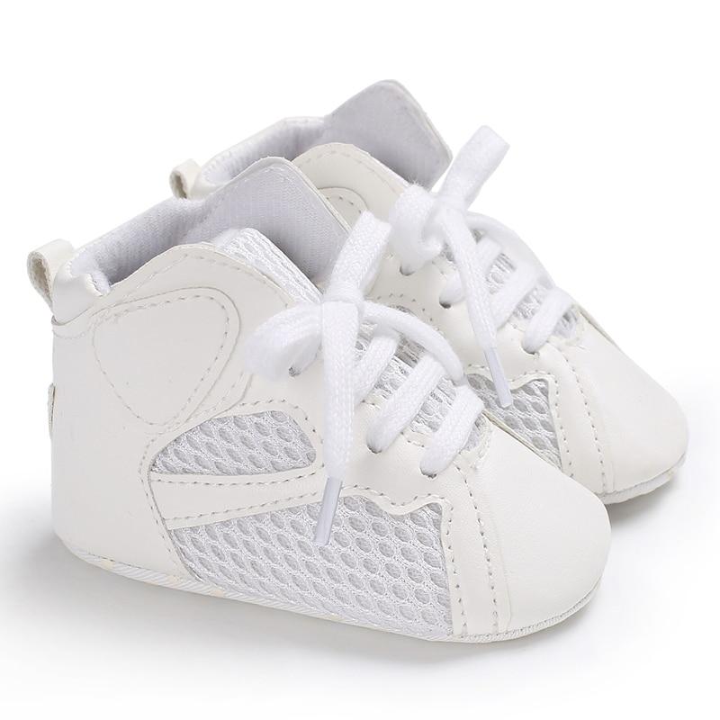 UK Fasion Newborn Baby Boy Girl Soft Sole White Pram Shoes Trainers Size 0-18M