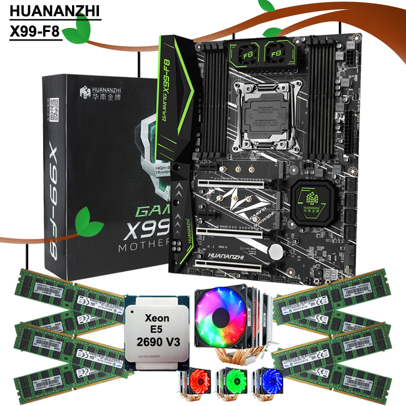 HUANANZHI X99-F8 LGA2011-3 Motherboard Kit Discount Mainboard With CPU Intel Xeon 2690 V3 With Cooler RAM 128G(8*16G) DDR4 RECC