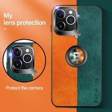 Lüks deri manyetik tutucu telefon kılıfı için iPhone 12 11 Pro Max SE XSmax XR XS X 8 7 6 artı Metal halka braketi silikon kapak