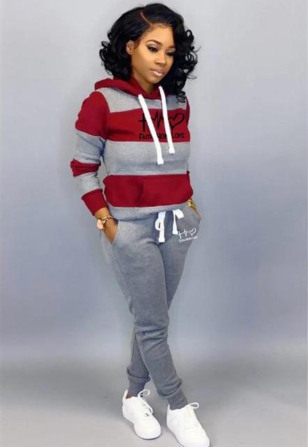 Winter Tracksuit Women 2 Piece Set Sweatshirt Print Hoodies+Pants Sportwear Women's Sports Suit Female Hooded Set Hoodies Suit 5