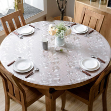 Round Tablecloth Waterproof Protect Kitchen PVC The Desktop for HAZY Soft-Glass