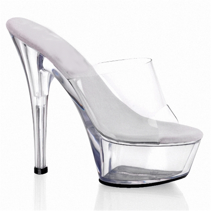 15CM Ultra High Heel Sexy Crystal Sandals Model Performance Shoes Princess Transparent Glass Slipper